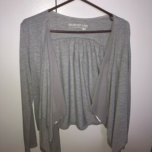 Long sleeve gray tie front